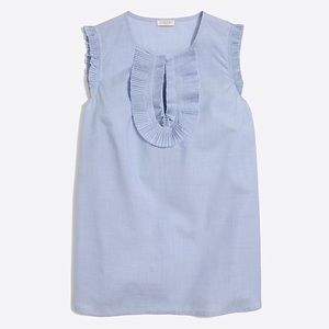J.CREW Size 4 Blue End-on-End Ruffle Front Tank